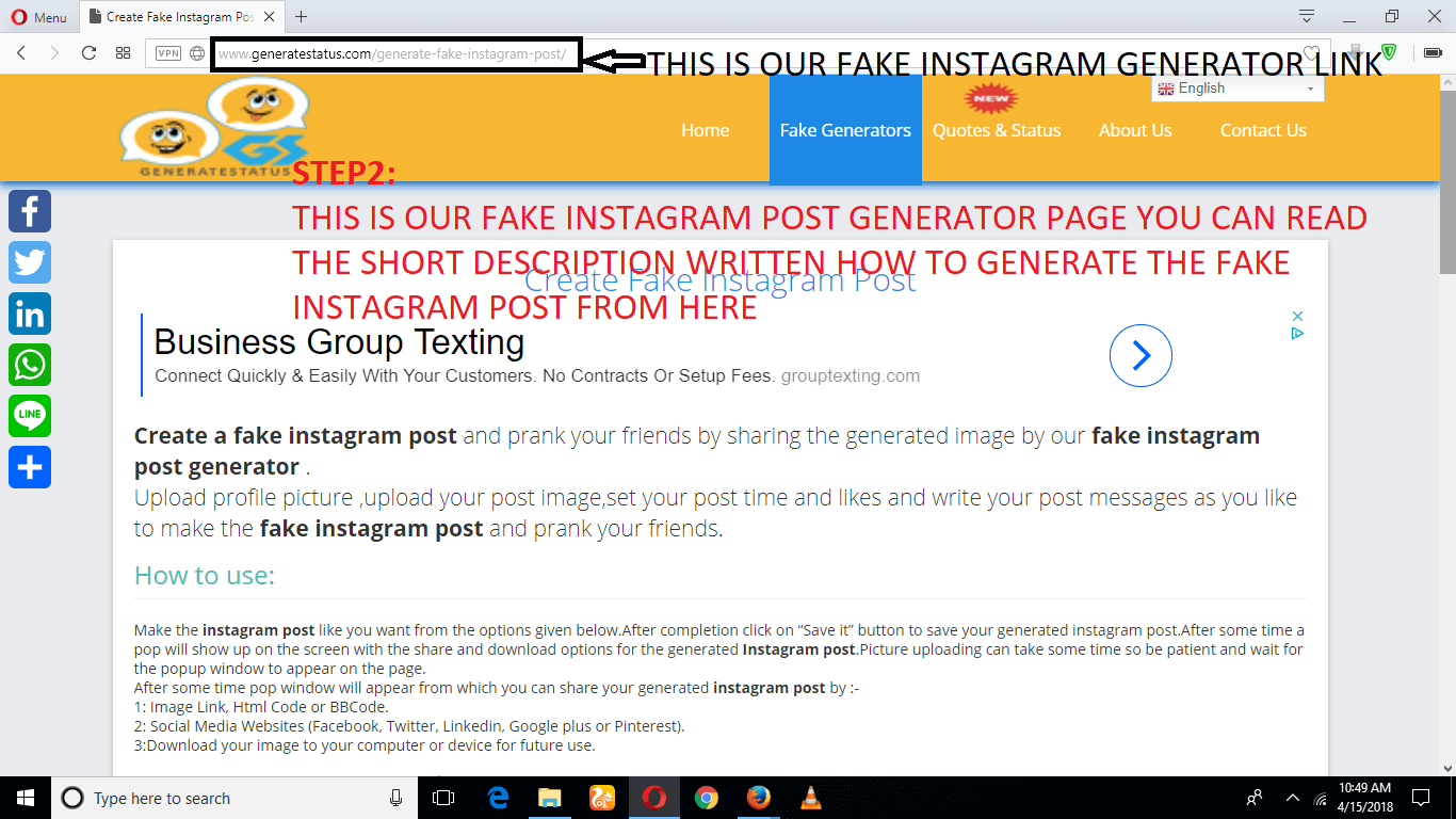 Create a fake instagram post